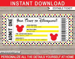 Printable Ticket to Disneyland Template ...