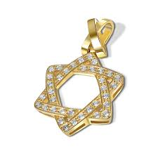 14k gold heavy weight star of david pendant zoom image