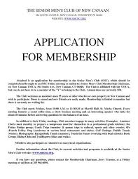 Application For Membership Application For Membership The Senior Mens Club Of New Canaan
