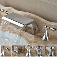 bright chrome waterfall wide spout basin mixer taps bathroom two handle brass lavatory sink faucet