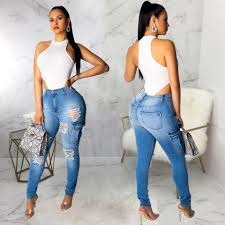 Designer High Waisted Skinny Jeans Women Washed Hole Jeans Fashion Designer High Waist Skinny Girls Slim Blue Womens Ripped Trousers