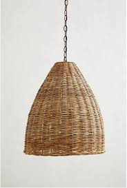 wicker pendant light. Three Appealing Woven Wicker Pendant Lights\u2013with A $600 Price Difference. Above: The Basket-Weave Lamp (22 Inches High) Made From Rattan With An Ir Light E