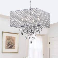 Chrome/ Crystal 4-light Square Chandelier - Free Shipping Today -  Overstock.com - 12645623