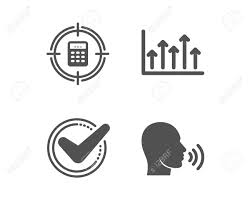 Set Of Confirmed Calculator Target And Growth Chart Icons Human