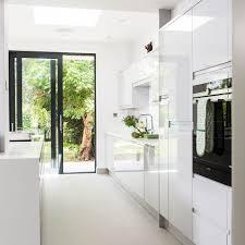 white galley kitchens.  White White Gloss Kitchen Units Huge Openplan To Galley Kitchens T
