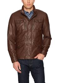 men s smooth lamb faux leather military jacket tommy hilfiger