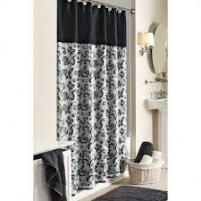 black and white damask scroll shower curtain -