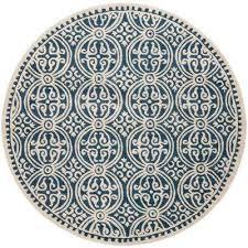 cambridge navy blue ivory 9 ft x 9 ft round area rug