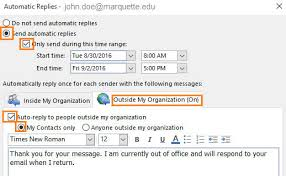 Automatic Respond Out Of Office It Services Marquette University