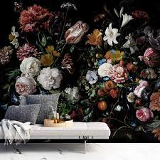 Dark Floral Wallpaper Dutch Flower Wall ...