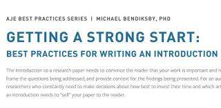 Getting A Strong Start Best Practices For Writing An Introduction