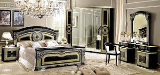black and silver bedroom furniture. amazoncom esf aida traditional black veneer with gold accents classic italian queen size bedroom set kitchen u0026 dining and silver furniture