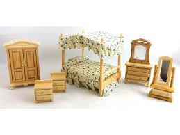 doll house furniture sets. Dolls House 1:24 Scale Miniature Oak Canopy 4 Poster Bed Bedroom Furniture Set Doll Sets E