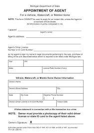 appointment of agent form michigan motor vehicle power of attorney form tr 128 eforms