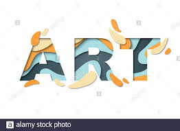 <b>Art</b>. <b>Word Art</b> in paper cut style in blue and yellow color, isolated on ...