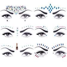 Eye Makeup Sticker Designs Face Jewels Tattoo Set Mermaid Face Gems Rhinestones Eyes