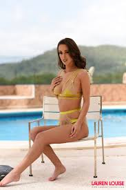 Glamour Models Lauren Louise Strips Nude By The Pool