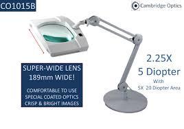 super wide lens long reach desk stand led magnifier 5 diopter
