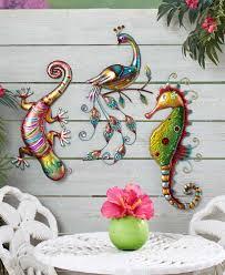 Solar Light Gecko Wall Art Colorful Metal Wall Sculptures Landscaping Metal