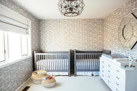 safari wallpaper nursery. Perfect Wallpaper Gray Twin Boys Nursery Design Includes Side By Cribs With White Sheets  And Matching Skirts Surrounded Cheetah Safari Print Wallpaper On Safari Wallpaper Nursery