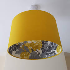 Osborne And Little Mustard Yellow Double Sided Lampshade With Chunky Floral Lining Yellow Light Shade Ceiling Lampshade Table Lamp Shade