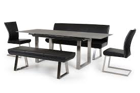 modern dining table with bench. Glamorous Modern Black Dining Room Table Images Decoration Ideas With Bench