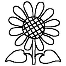 ヒマワリ白黒花のモチーフ図案の無料イラストミニカットクリップ