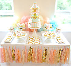 Pink Blue And Gold Carousel Cake Table First Birthday Party