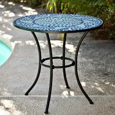 30 inch round metal outdoor bistro patio table with hand laid blue