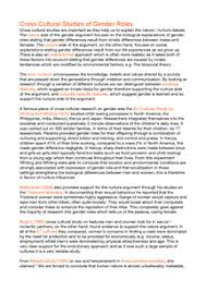cross cultural influences on gender role essay document in a preview of page 1 cross cultural studies of gender roles