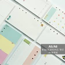 <b>40 sheet</b>/<b>pack A5 A6</b> Colored Spiral Notebook Inner Pages 6 holes ...