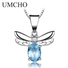 2019 umcho sky blue topaz pendants necklaces 925 sterling silver jewelry lovely honey bee design pendant with chain fine jewelry from bojiban