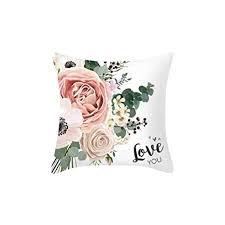 Rose Flowers Printed <b>Pillowcase</b> Mediterranean <b>Nordic Style</b> Home ...