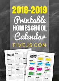 Free Printable School Calendar Free Printable School Calendar For 2018 2019 Five Js Homeschool