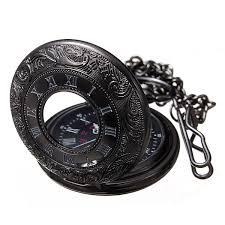 steampunk gothic black engraved men s pop open quartz pocket watch
