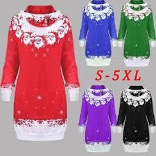Umeko Women Christmas Santa Print Sweater Dress Casual ... - Vova