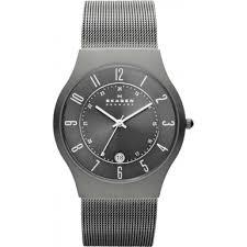233xlttm klassik skagen men s watch watches2u skagen 233xlttm mens klassik grey titanium mesh watch