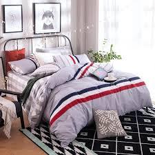 modern stripe bedding set 100 cotton summer navy duvet cover set man boy bed sheet masculine