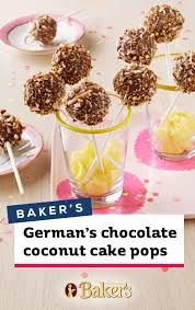 Bakers Germans Chocolate And Coconut Cake Pops Dipped In Melted