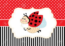 Ladybug Invitations Template Free Vector Card Template With A Cute Ladybug On Polka Dot And Stripes