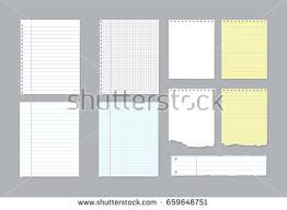 set of diffe notebook pages and pieces of torn notebook paper vector ilration