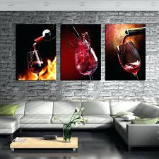 framed art set of 3 3 piece modern kitchen canvas paintings red wine cup bottle wall