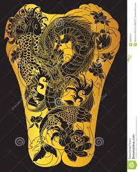 Japanese Wave For Tattoo Hand Drawn Dragon And Koi Fish With Flower