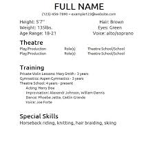 Sample Acting Resume Adorable Gallery Of Beginner Acting Resume Sample Theatrical Resume
