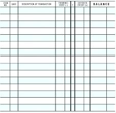 Checkbook Register Template Excel Printable Bank Ledger
