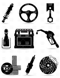 auto parts clip art. Plain Art Set Of Car Parts  Black Silhouettes Vector Image U2013 Artwork  Objects  Konturvid Click To Zoom With Auto Parts Clip Art T