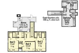 farmhouse plan with optional guest quarters 48443fm