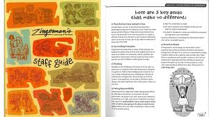 innovative employers are using creative handbooks to engage employees zingerman s the staff guide for this ann arbor mich business group includes playful graphics and even cut out finger puppets of the two founding