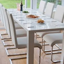 dazzling white gloss extendable dining table with white luca home white modern dining chair plus chrome