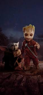 Baby Groot And Baby Yoda - 1242x2688 ...